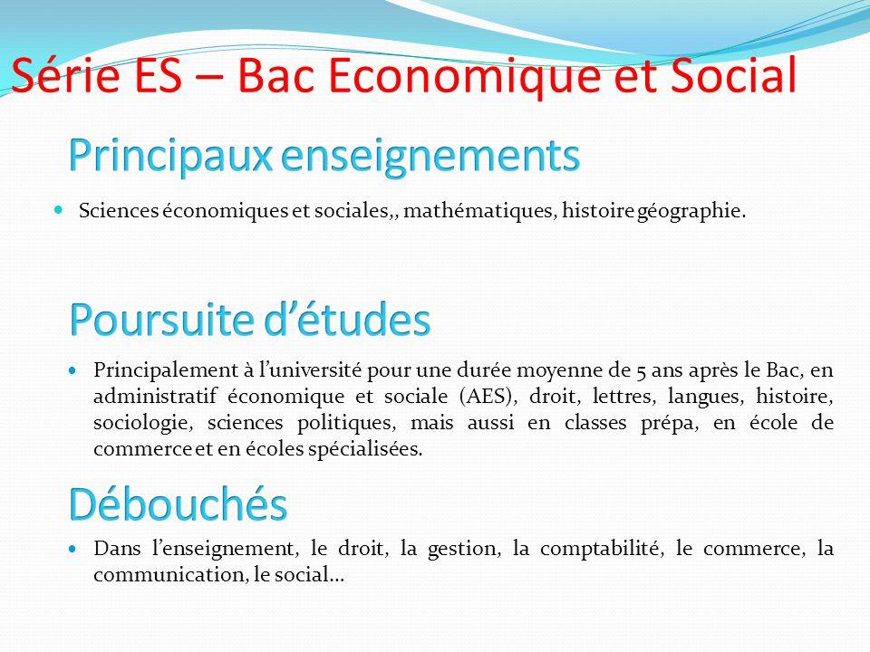 Série ES – Bac Economique et Social