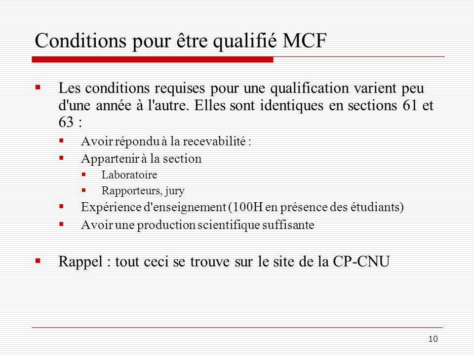 Conditions pour être qualifié MCF