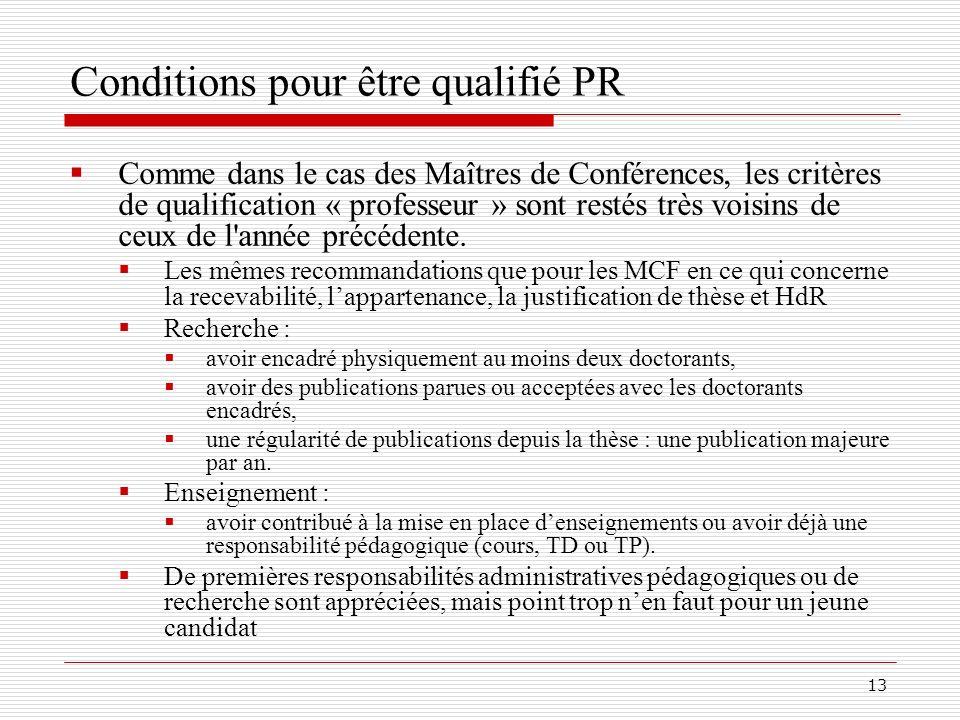 Conditions pour être qualifié PR