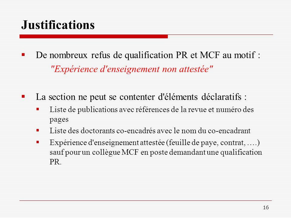 Justifications De nombreux refus de qualification PR et MCF au motif :
