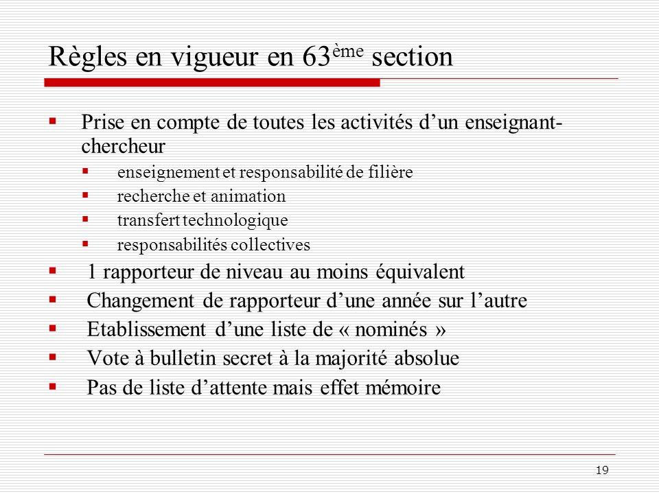 Règles en vigueur en 63ème section