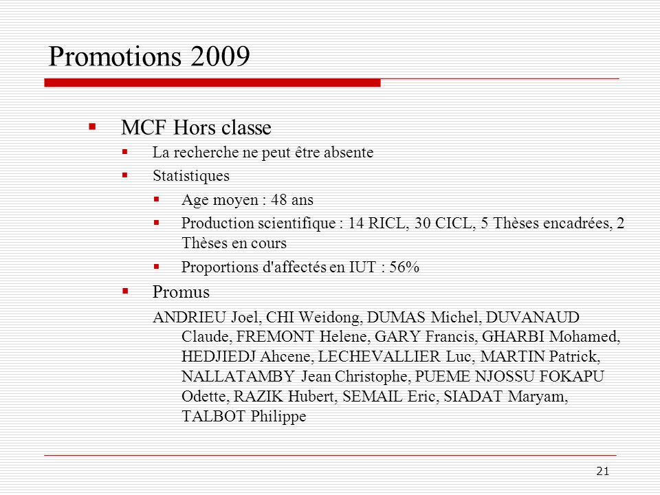 Promotions 2009 MCF Hors classe Promus