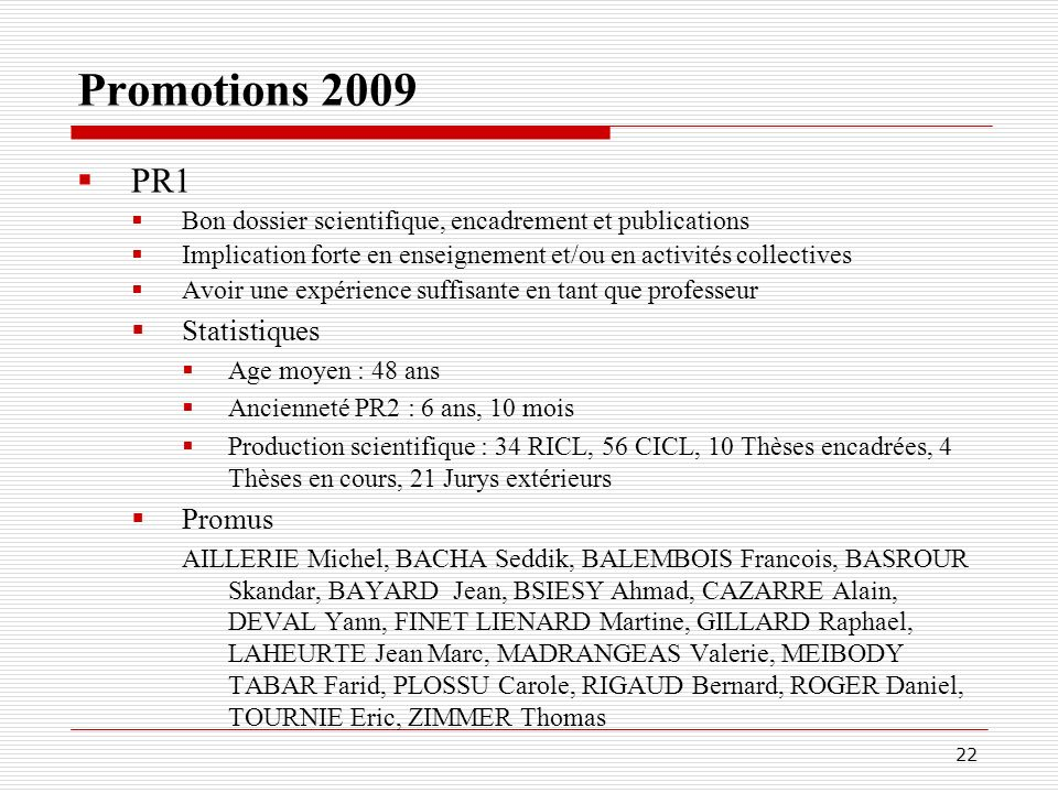 Promotions 2009 PR1 Statistiques Promus