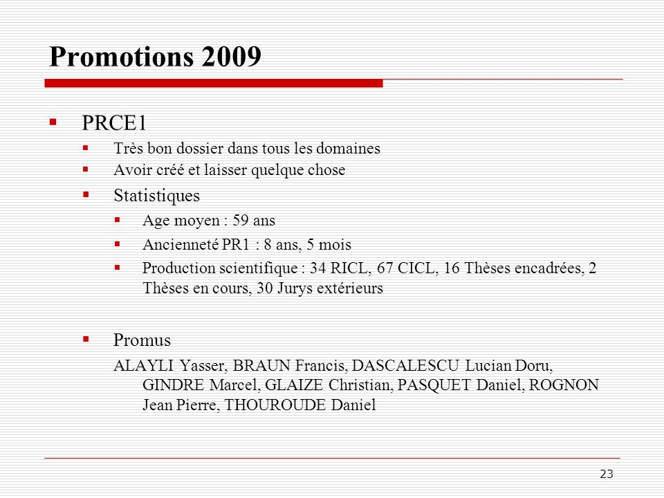 Promotions 2009 PRCE1 Statistiques Promus
