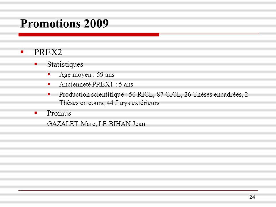 Promotions 2009 PREX2 Statistiques Promus Age moyen : 59 ans
