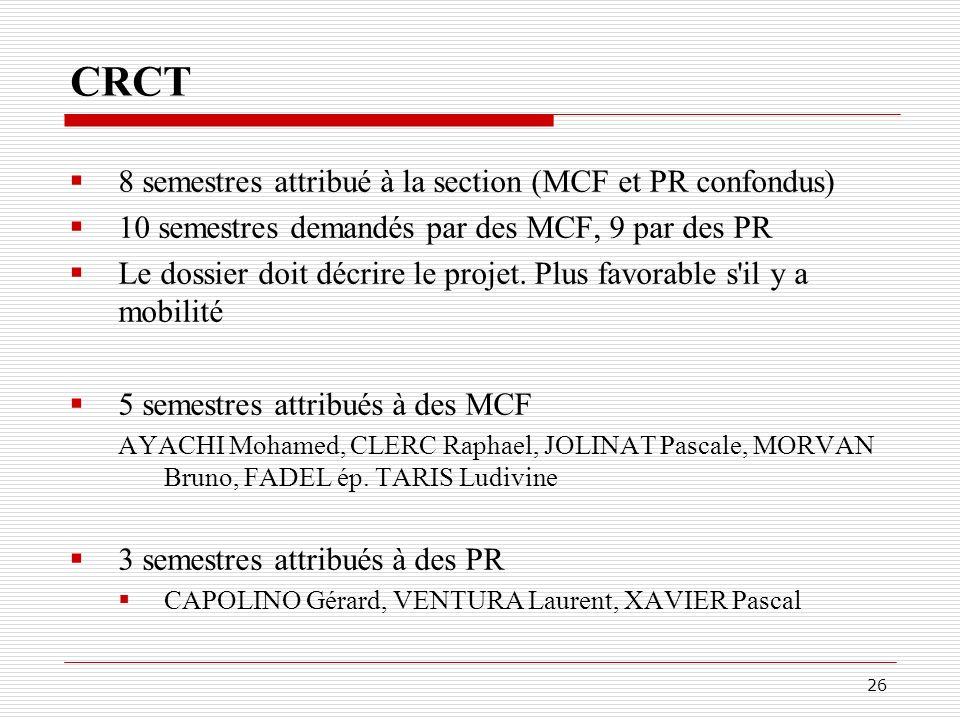 CRCT 8 semestres attribué à la section (MCF et PR confondus)