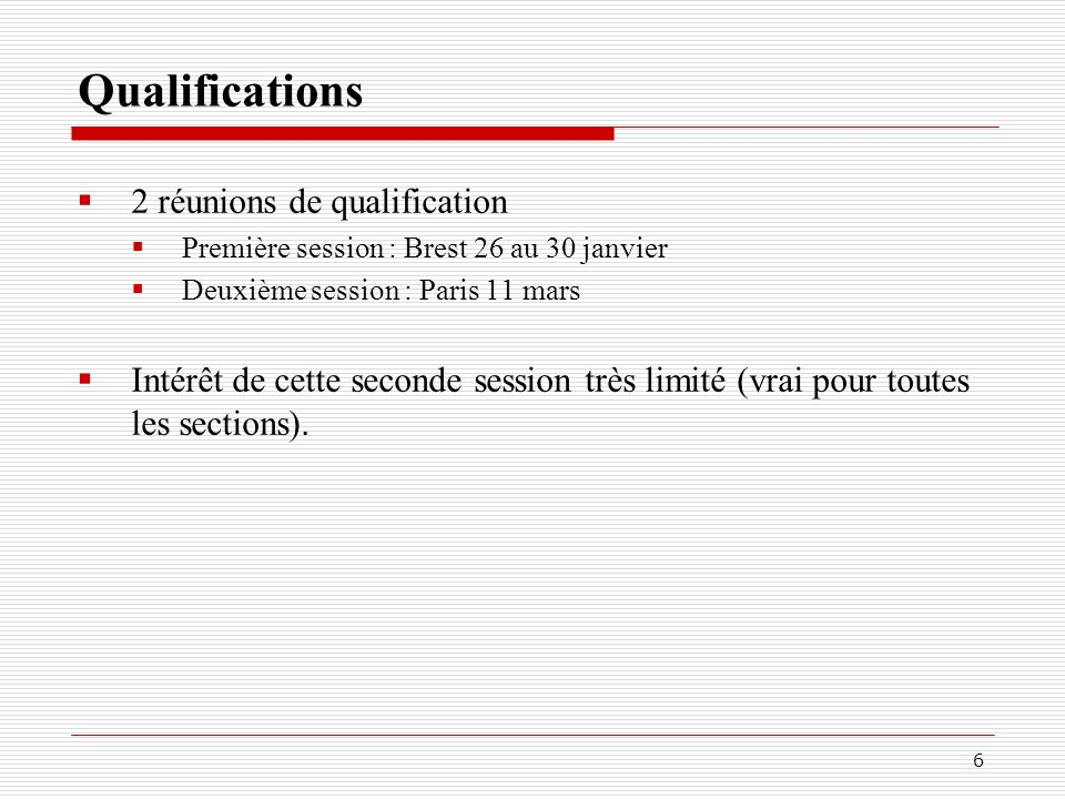 Qualifications 2 réunions de qualification