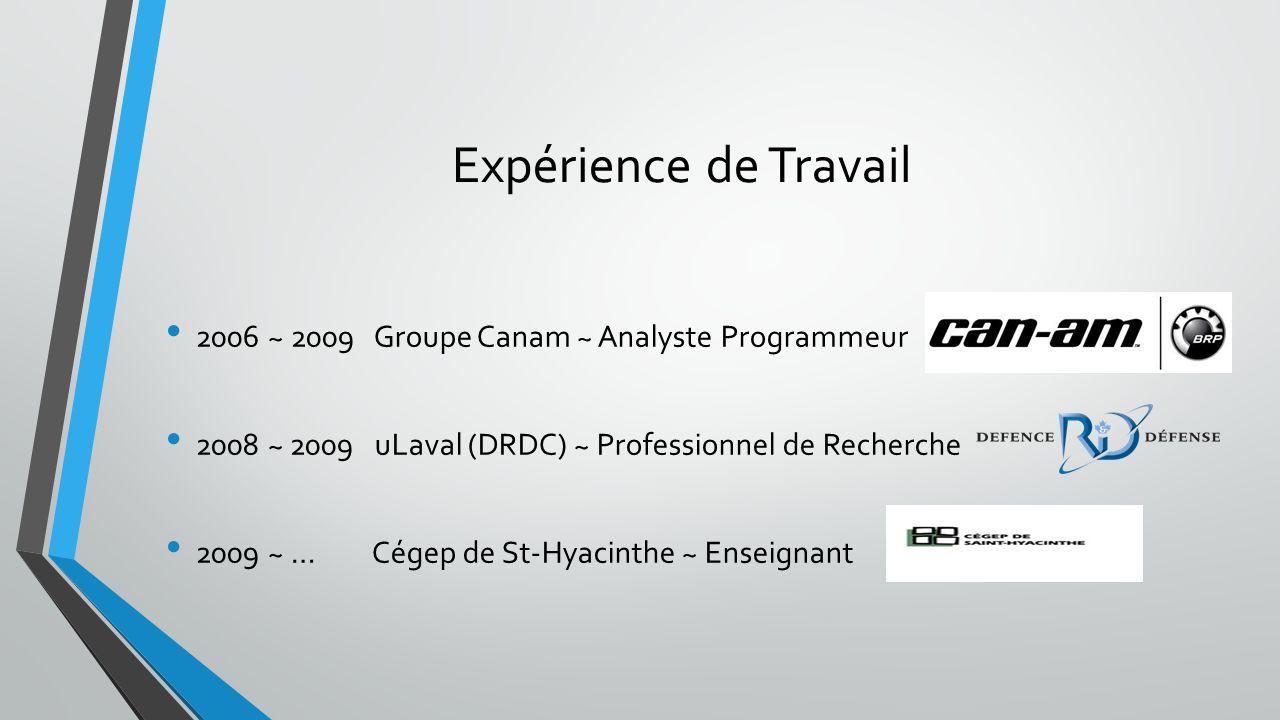 Expérience de Travail 2006 ~ 2009 Groupe Canam ~ Analyste Programmeur