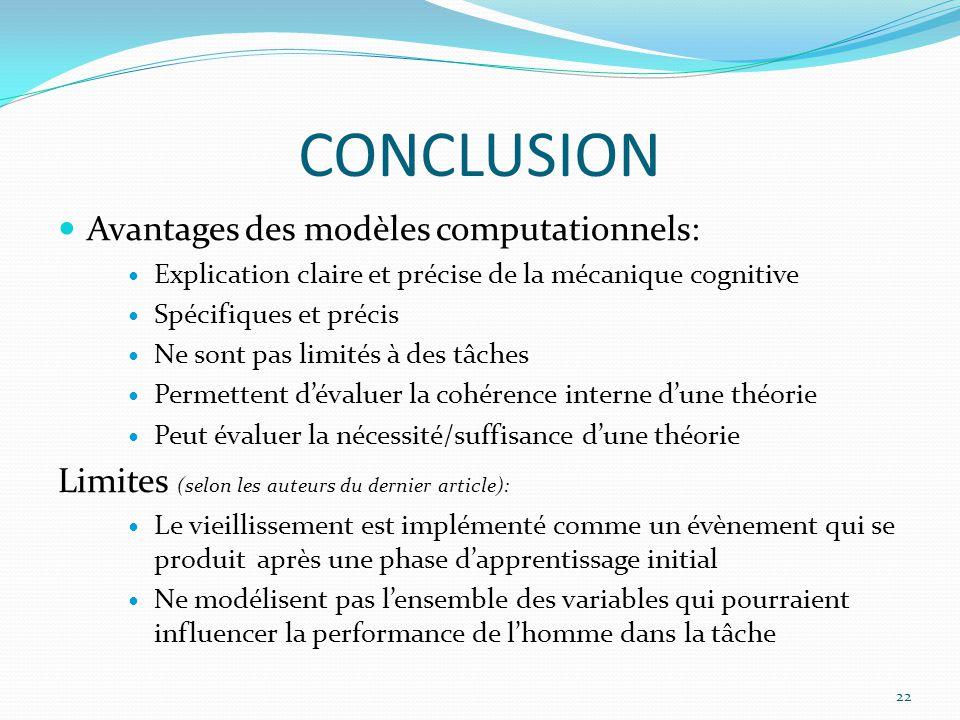 CONCLUSION Avantages des modèles computationnels:
