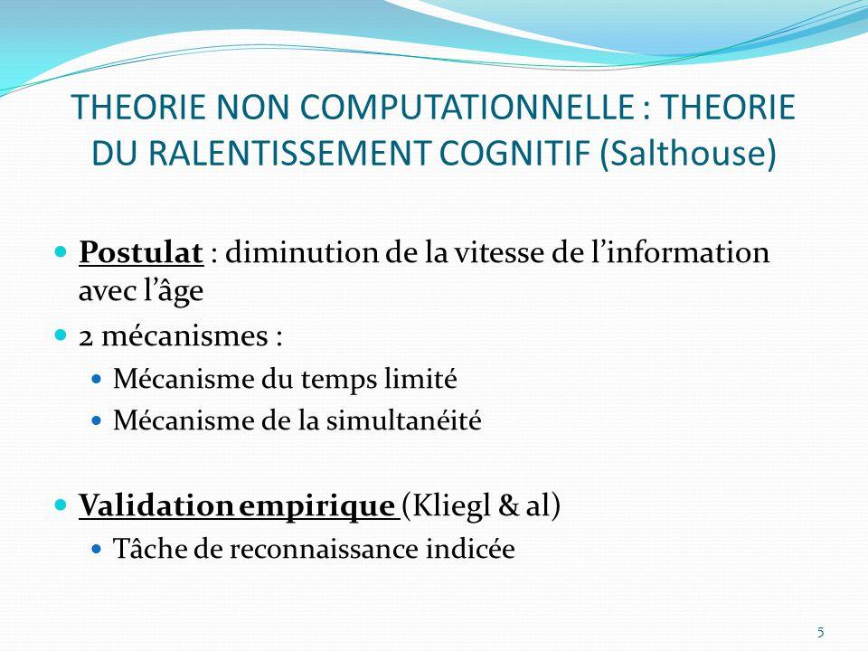 THEORIE NON COMPUTATIONNELLE : THEORIE DU RALENTISSEMENT COGNITIF (Salthouse)