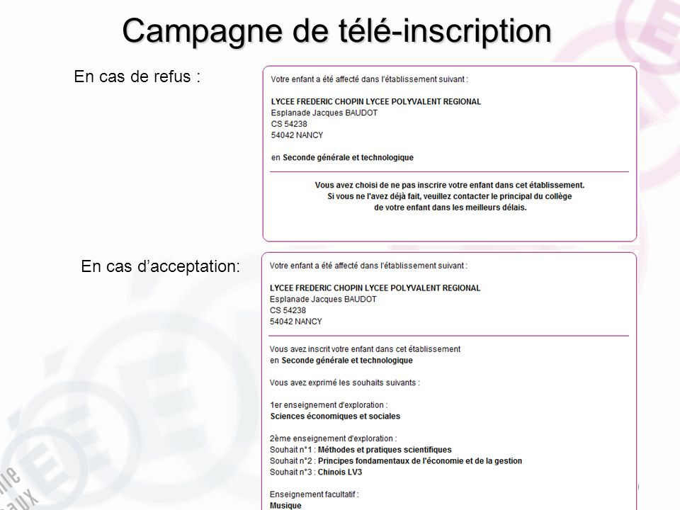 Campagne de télé-inscription