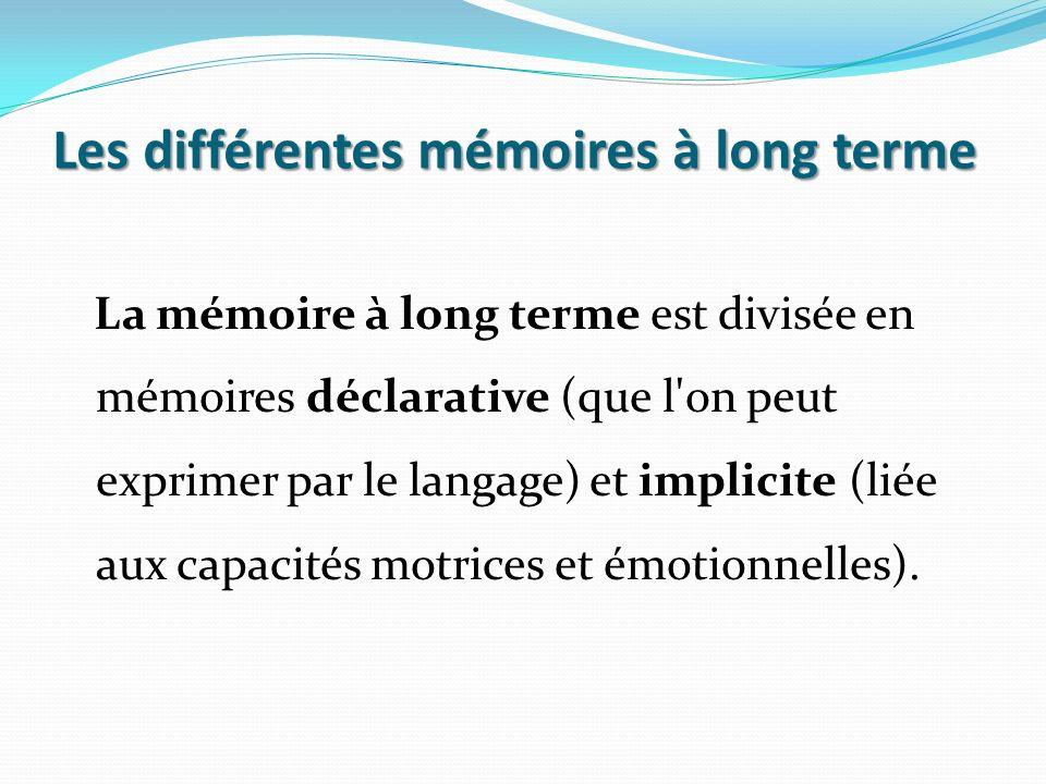 Les différentes mémoires à long terme