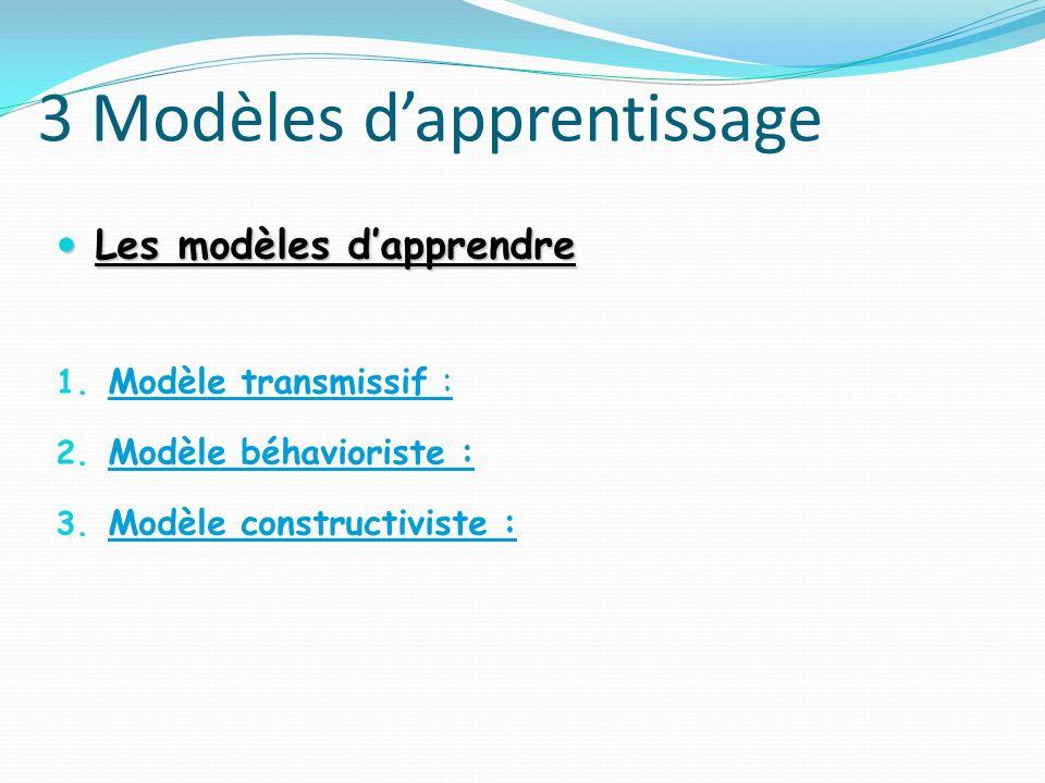 3 Modèles d'apprentissage