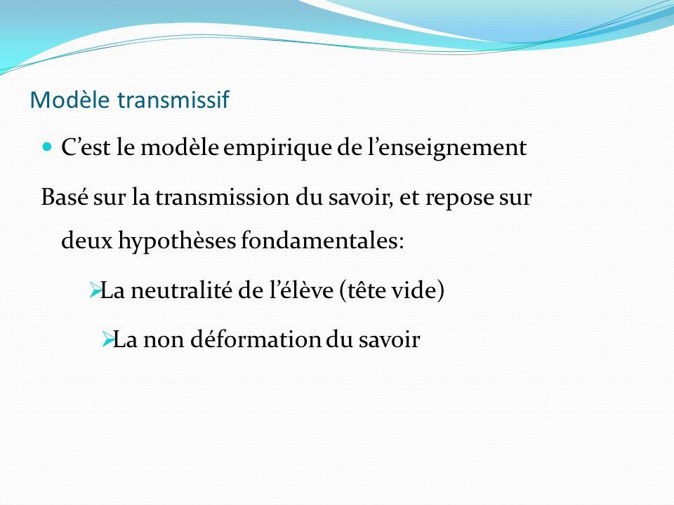 Modèle transmissif C'est le modèle empirique de l'enseignement
