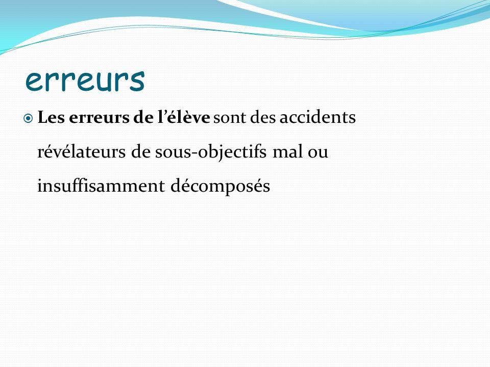 erreurs Les erreurs de l'élève sont des accidents révélateurs de sous-objectifs mal ou insuffisamment décomposés.