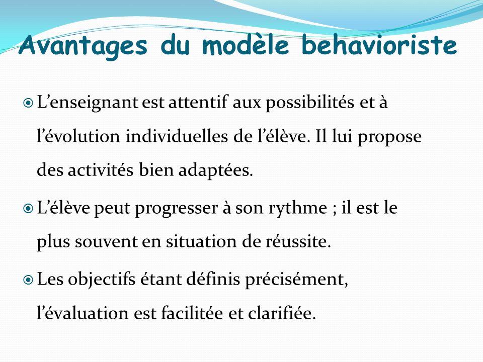 Avantages du modèle behavioriste