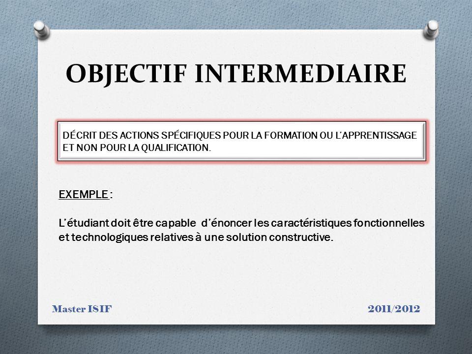 OBJECTIF INTERMEDIAIRE
