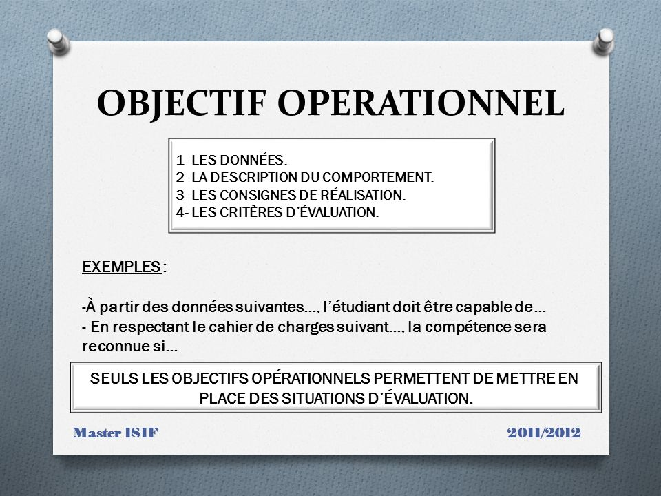 OBJECTIF OPERATIONNEL