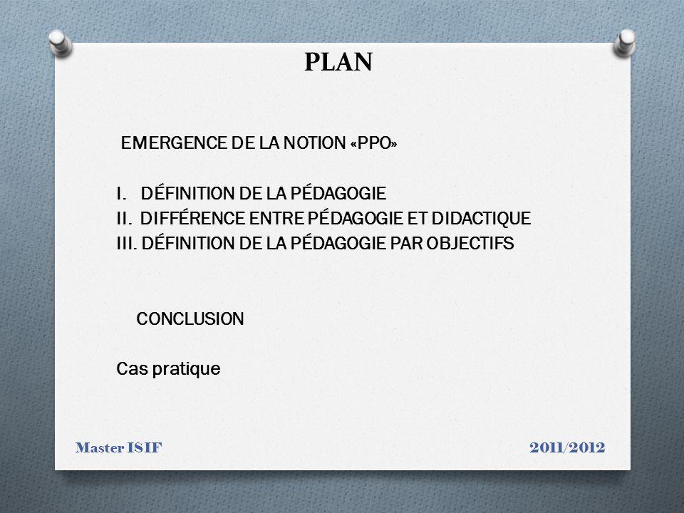 PLAN I. Définition de la pédagogie