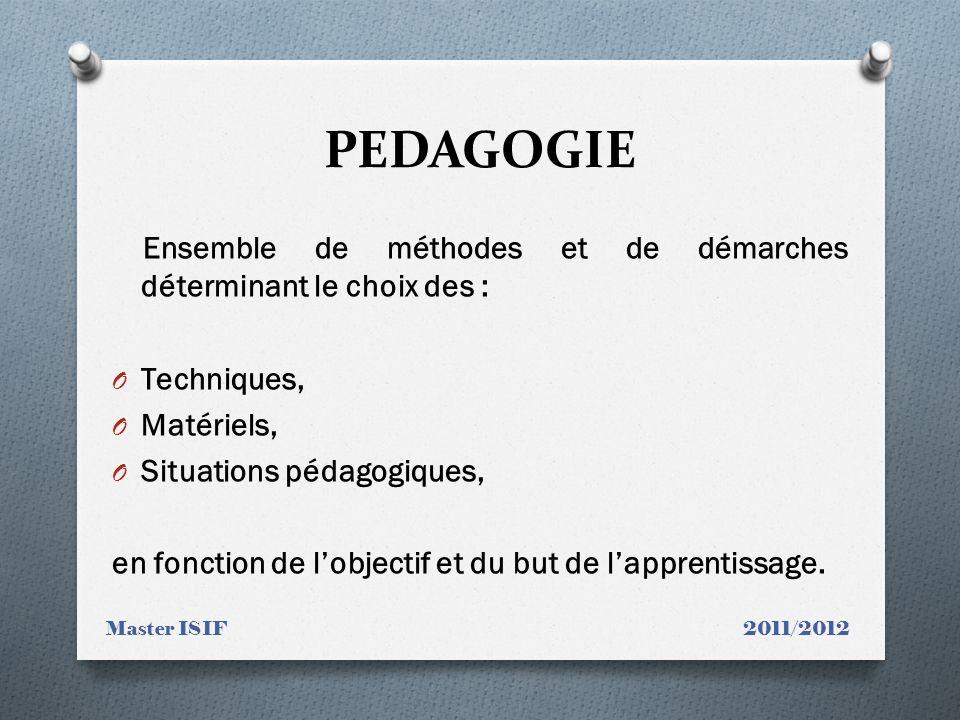 PEDAGOGIE Ensemble de méthodes et de démarches déterminant le choix des : Techniques, Matériels, Situations pédagogiques,