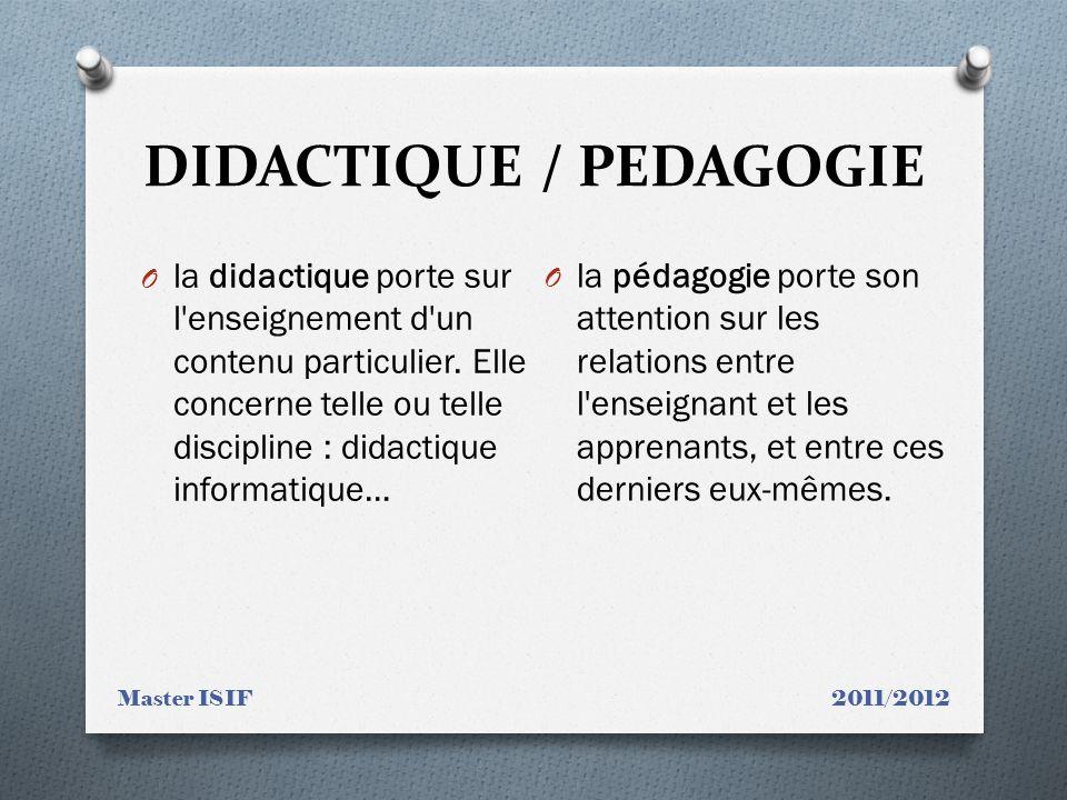 DIDACTIQUE / PEDAGOGIE