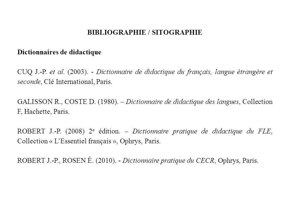 BIBLIOGRAPHIE / SITOGRAPHIE