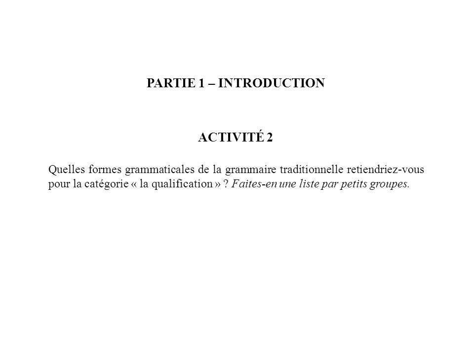 PARTIE 1 – INTRODUCTION ACTIVITÉ 2