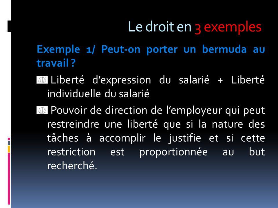 Le droit en 3 exemples Exemple 1/ Peut-on porter un bermuda au travail Liberté d'expression du salarié + Liberté individuelle du salarié.