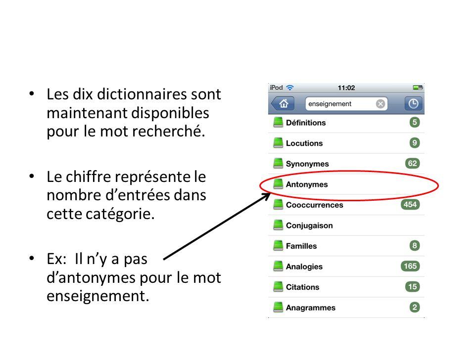 Les dix dictionnaires sont maintenant disponibles pour le mot recherché.
