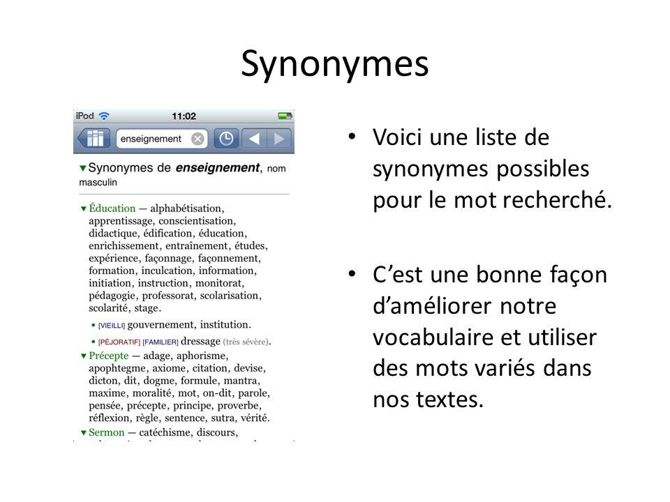 Synonymes Voici une liste de synonymes possibles pour le mot recherché.