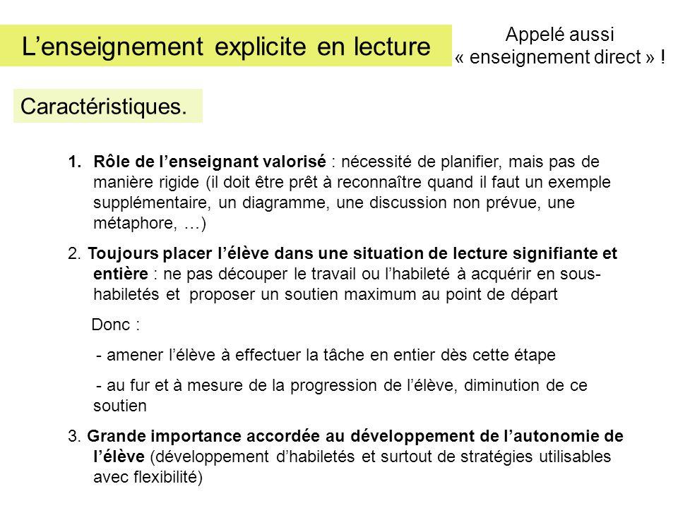 L'enseignement explicite en lecture