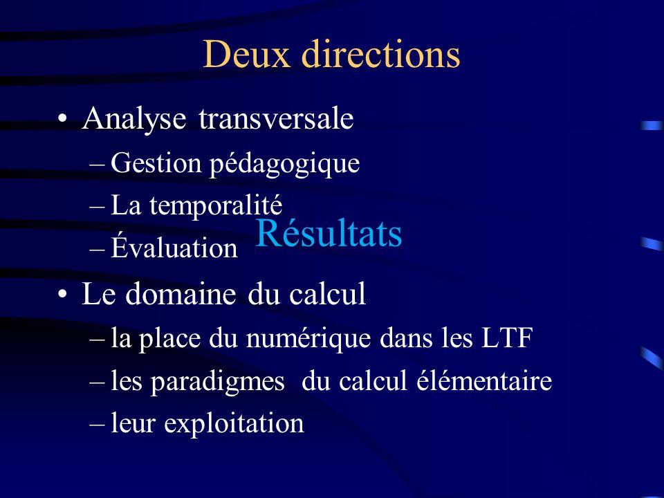 Deux directions Résultats Analyse transversale Le domaine du calcul