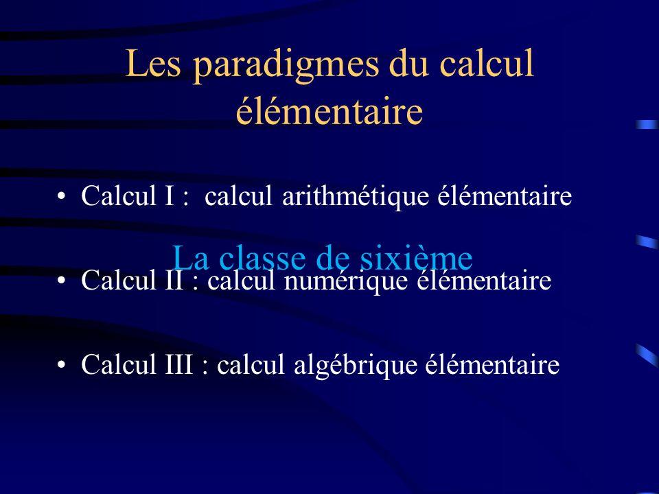 Les paradigmes du calcul élémentaire