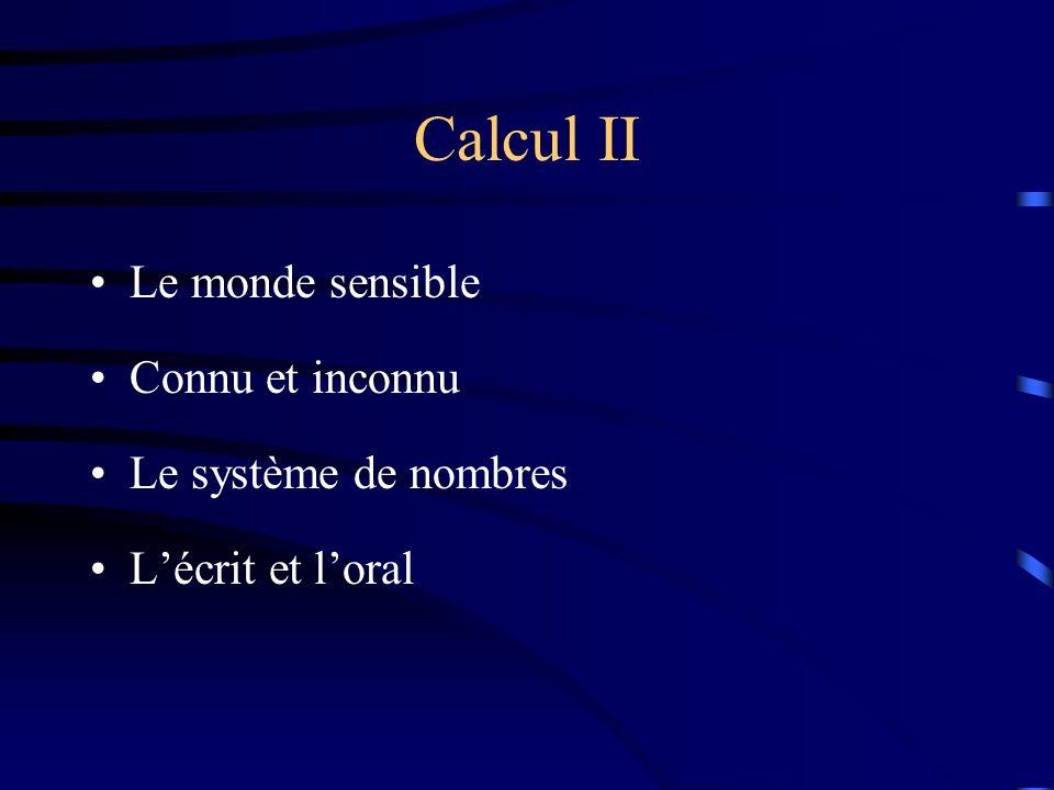 Calcul II Le monde sensible Connu et inconnu Le système de nombres