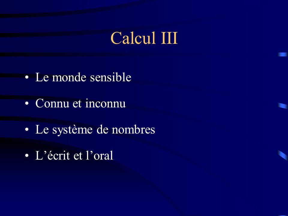 Calcul III Le monde sensible Connu et inconnu Le système de nombres