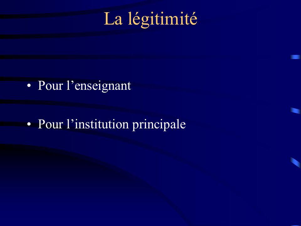 La légitimité Pour l'enseignant Pour l'institution principale
