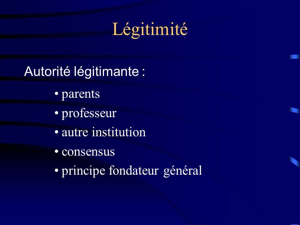 Légitimité Autorité légitimante : parents professeur autre institution