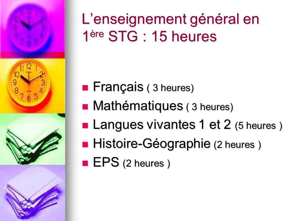 L'enseignement général en 1ère STG : 15 heures
