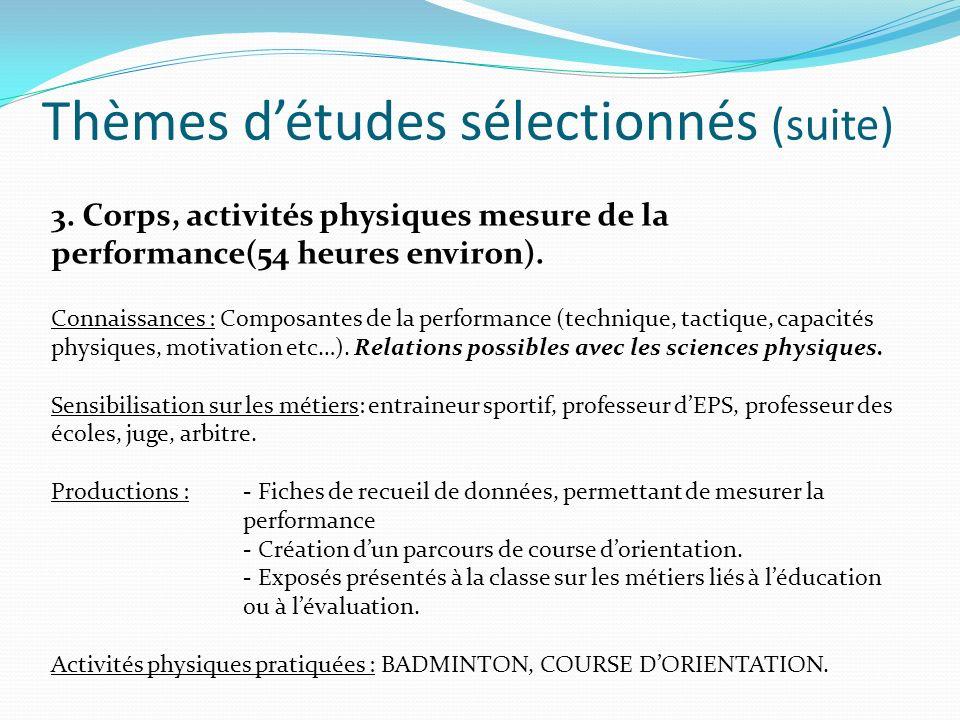 Thèmes d'études sélectionnés (suite)