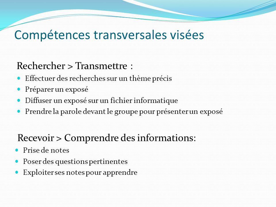 Compétences transversales visées