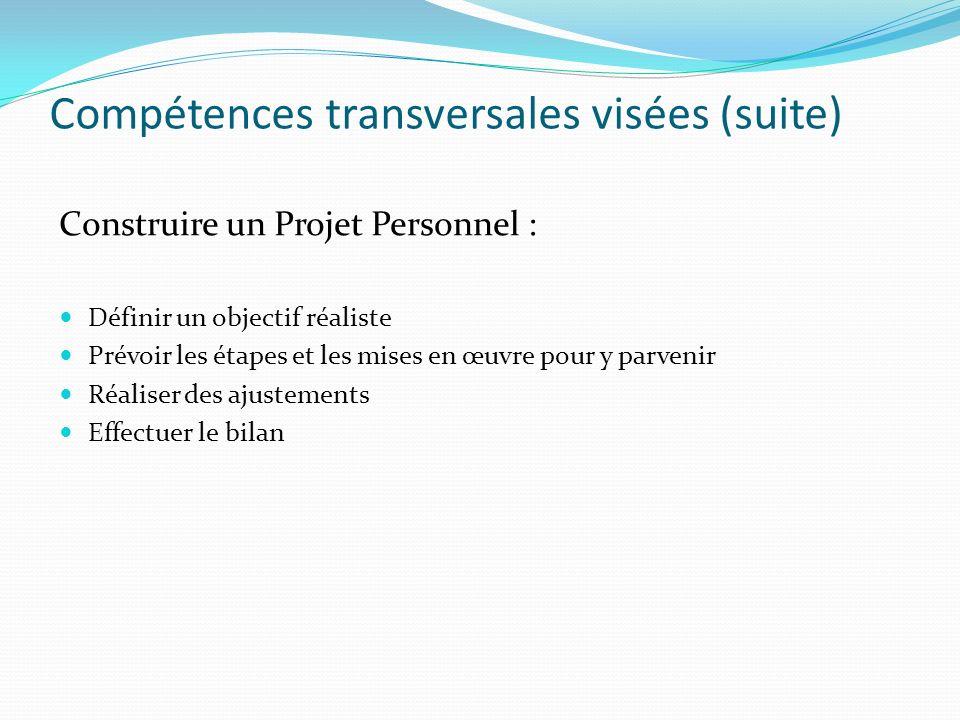 Compétences transversales visées (suite)