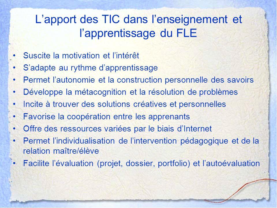 L'apport des TIC dans l'enseignement et l'apprentissage du FLE