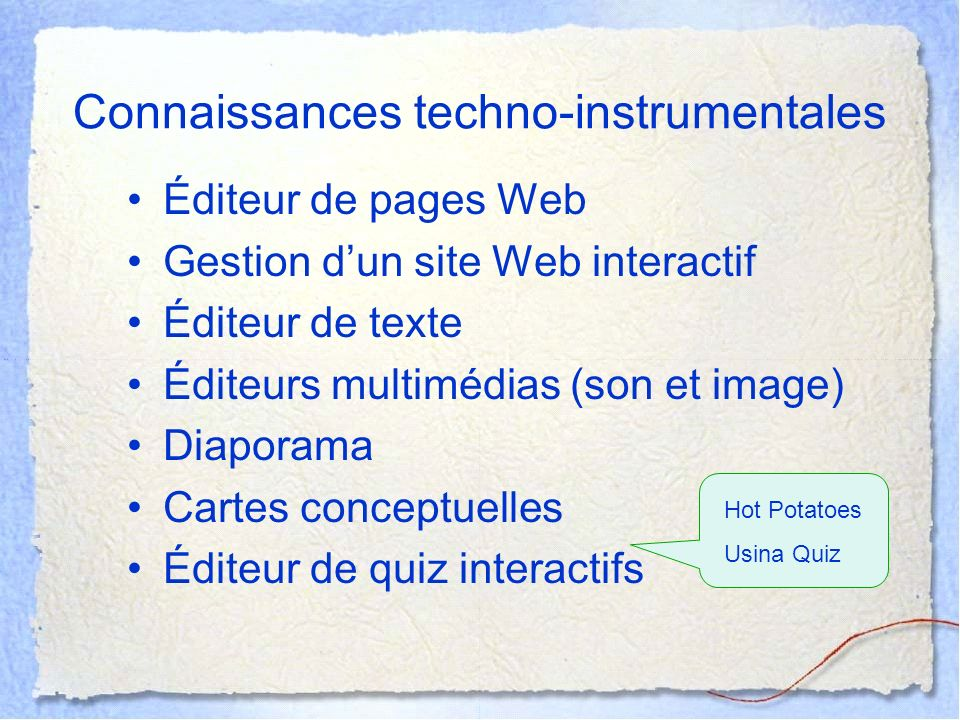 Connaissances techno-instrumentales