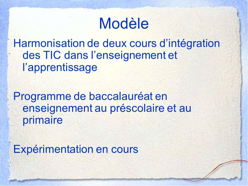 Modèle Harmonisation de deux cours d'intégration des TIC dans l'enseignement et l'apprentissage.