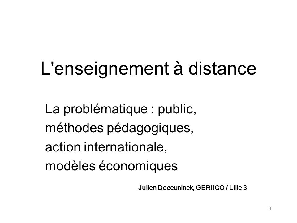 L enseignement à distance