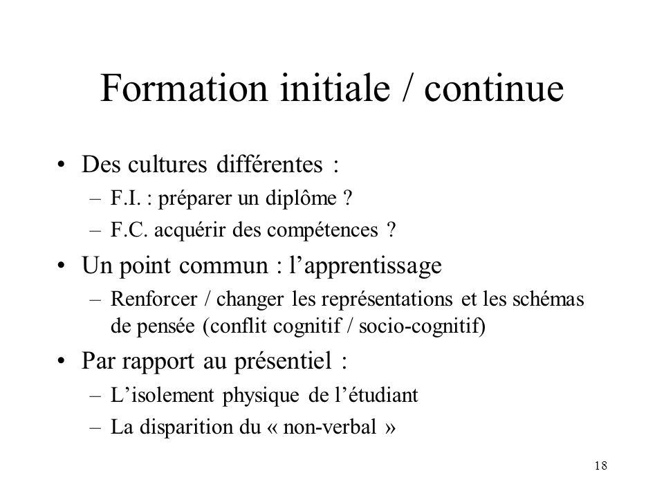 Formation initiale / continue