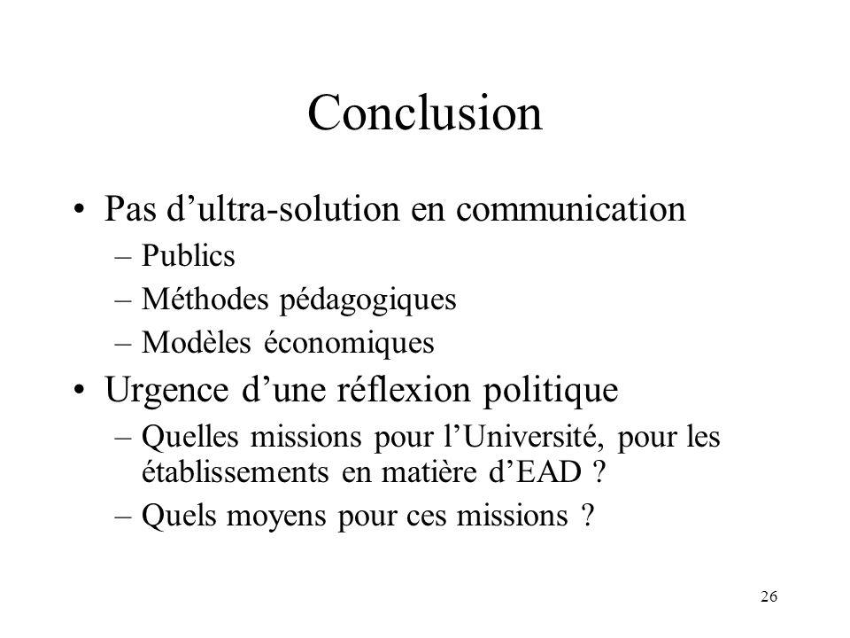 Conclusion Pas d'ultra-solution en communication