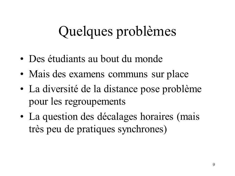 Quelques problèmes Des étudiants au bout du monde