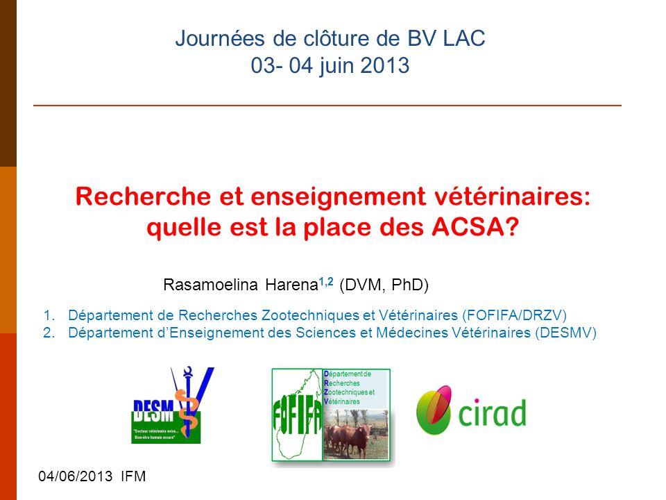 Recherche et enseignement vétérinaires: quelle est la place des ACSA