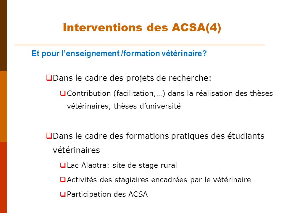 Interventions des ACSA(4)